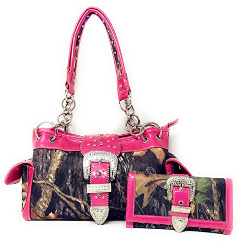 New Style Rhinestone Buckle Concho Camouflage Shoulder Handbag Purse with Matching Wallet in 5 Colors (Hot Pink) (Pink Western Purse Hot)