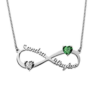 a1f523ea4 Amazon.com: Ouslier 925 Sterling Silver Personalized Infinity Name Necklace  with Birthstone Heart Custom Made with 2 Names (14): Jewelry