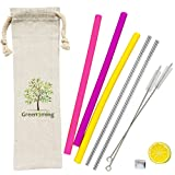Travel Silicone Reusable Gir lStraw - 3 Straight Silicone Straws + 2 Stainless Steel Striaght Straw with 2 Cleaning Brush, Straw for 30 oz tumblers Personal Straws