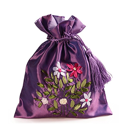 2500 Silk Brocade Double Layer Pouch Drawstring Coin Purse Gift Candy Bag H8.3