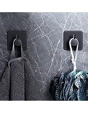 Shoplifemore Geborsteld roestvrij staal stok op muur deur handdoek haak hanger waterdichte sterke hechting power kleverige haken voor keukens, badkamers, toiletten, kasten