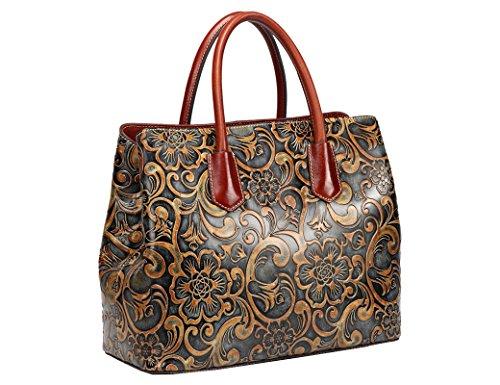 Jair Retro Floral Embossed Genuine Leather Crossbody Tote Bags Handbags for Women (Bronze New) by Jair (Image #1)