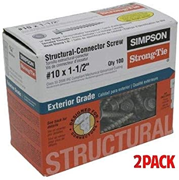 100-Pack 2 Pack Simpson Structural Screws SD10112R100 No.10 by 1-1//2-Inch Structural-Connector Screw