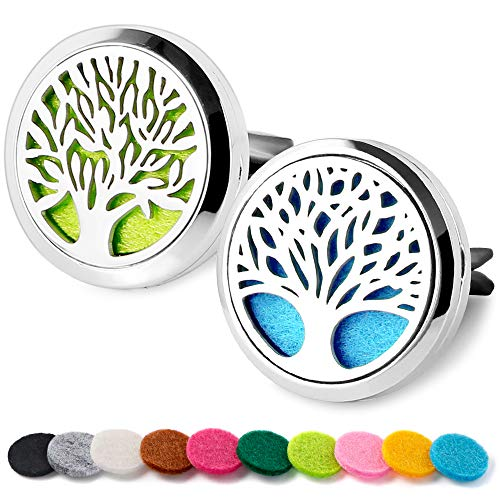 Maromalife Car Diffuser Vent Clip 2 PCS Set, Essential Oil Car Clip Locket Stainless Steel Tree Design Car Clips with 20 Felt Pads (Aroma Essence 2 In 1 Car Diffuser)