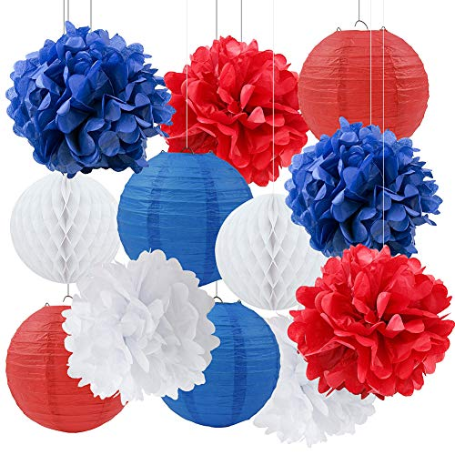 (4th of July Party Patriotic Decor Nautical Party Decor Navy Blue White Red Tissue Pom Poms Paper Lanterns Paper Honeycomb Ball for Independence Day Party Captain America Party Ahoy Baby Shower Party)