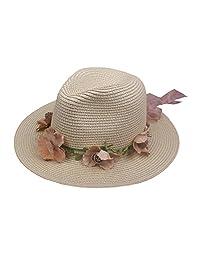 Romacci Sun Hat Ladies Summer straw hat outdoors rippled edge Wreath