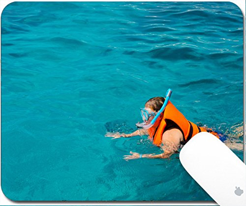 Luxlady Gaming Mousepad 9.25in X 7.25in IMAGE: 33880264 Woman is snorkeling at similan - Goggles Brands Indian