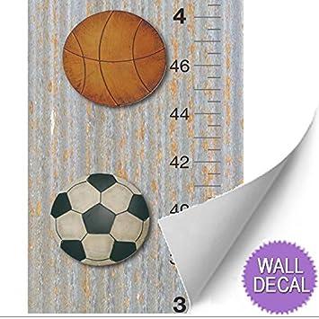 Amazon.com: Growth Chart Basketball Baseball Football Soccer Ball ...