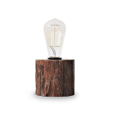 Looxury Industrial Lamp Vintage Edison Bulb With Drift Wood Base