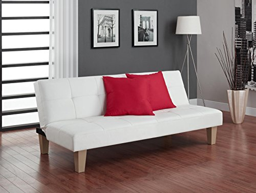 DHP Aria Futon Couch, Tufted Faux Leather Upholstery - White (Reception Faux Leather)