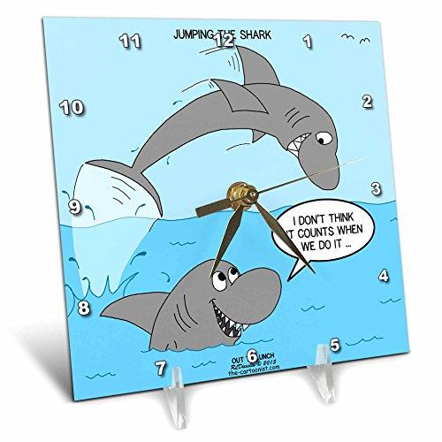 Rich Diesslins Funny Out to Lunch Cartoons - Shark Jumping the Shark - 6x6  Desk Clock (dc_221252_1)