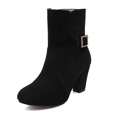 Women's Pull-On High Heels Imitated Suede Solid Low Top Boots