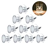 LED Plinth Lights/ Deck Lighting Kits 10 pcs Waterproof IP67, Warm White 22mm Low Voltage Recessed Deck Lights for Kitchen Skirting Kickboards Staircase Patio Garden Pathway Timber Decoration(0.6W/pcs)
