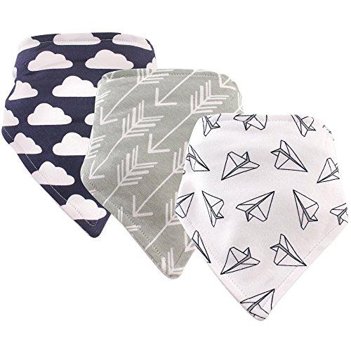 Hudson Baby Unisex Baby Cotton Bandana Bibs, Paper Airplane 3 Pack, One Size