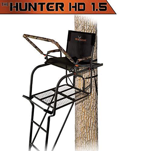 BIG GAME Hunter HD 1.5 Treestand - Adjustable Shooting Rail, Extra Wide/Deep Platform for Wide Stances, Flex Tek Comfort Seating 18.6' Tall Big Game Steel Treestand