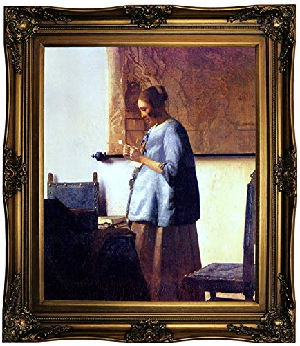 Historic Art Gallery Women in Blue Reading a Letter by Johannes Vermeer Framed Canvas Print, Size 20x24, Gold (Woman In Blue Reading A Letter Vermeer)