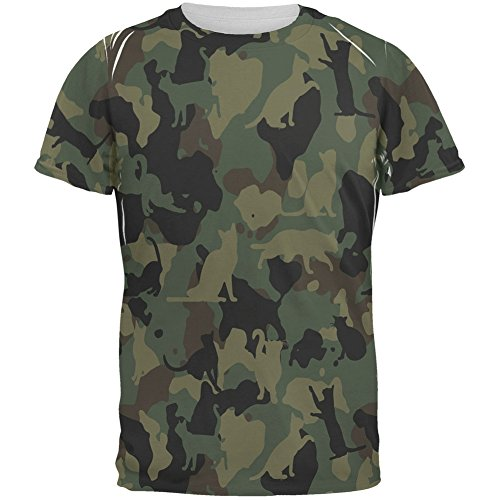 Cat Camo Catmouflage All Over Adult T-Shirt 51ejVwV UiL