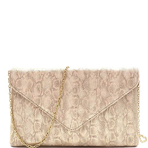 Snake Print Soft PU Leather Envelope Clutch Bag with Crossbody Chain Strap (Envelope Style - Gold)