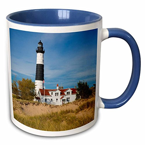 3dRose 259531_6 Big Sable Point Lighthouse, Lake, Ludington, Michigan, Blue Mug 11 oz (Big Sable Lighthouse)