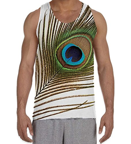 - Tribal T-Shirts Single Peacock Feather Men's All Over Graphic Vest Tank Top (Medium, White)