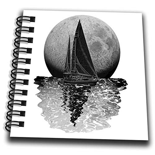 3dRose Macdonald Creative Studios – Nautical - Midnight Sailing Nautical Art of Sailboat in Front of a Full Moon. - Mini Notepad 4 x 4 inch (db_299246_3)