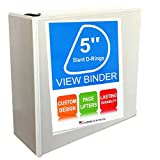 3 Ring Binder, Slant D-Rings, Clear View, Pockets , 5 Inch, White