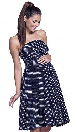 Zeta Ville - Premamá Vestido sedoso bandeau palabra de honor - mujer - 129c (Marina de guerra con puntos, EU 42/44, 2XL)