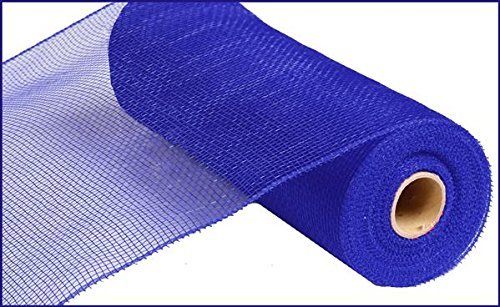 10 Inch x 30 Feet Deco Poly Mesh Ribbon - Royal Blue Non Metallic : -