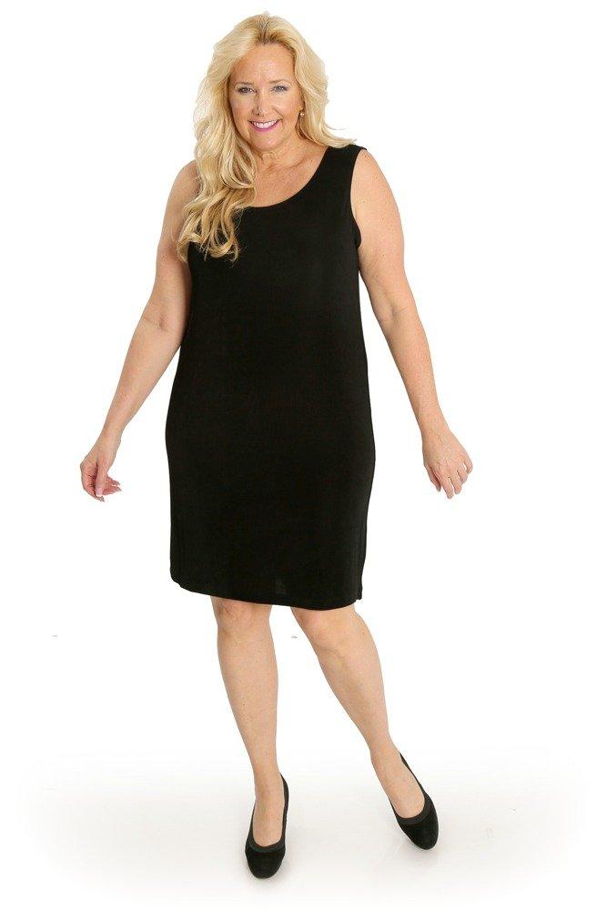 Vikki Vi Women's Plus Size Short Shift Dress (2X, Black)