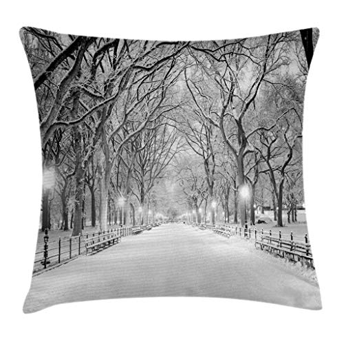 """Ambesonne Winter Throw Pillow Cushion Cover, View of Central Park in Winter Snowy Trees and The Walkway Digital Art Print, Decorative Square Accent Pillow Case, 18"""" X 18"""", Grey Black"""