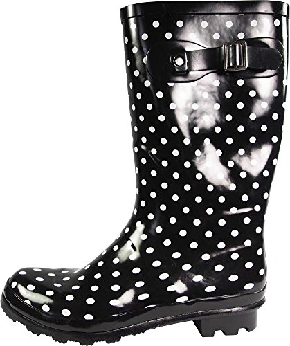 Matte Wellie amp; Glossy Rim Rainboots Hurricane 14 White Black Womens Dot Waterproof NORTY Solids and Prints Calf Mid 8EqzpAT0