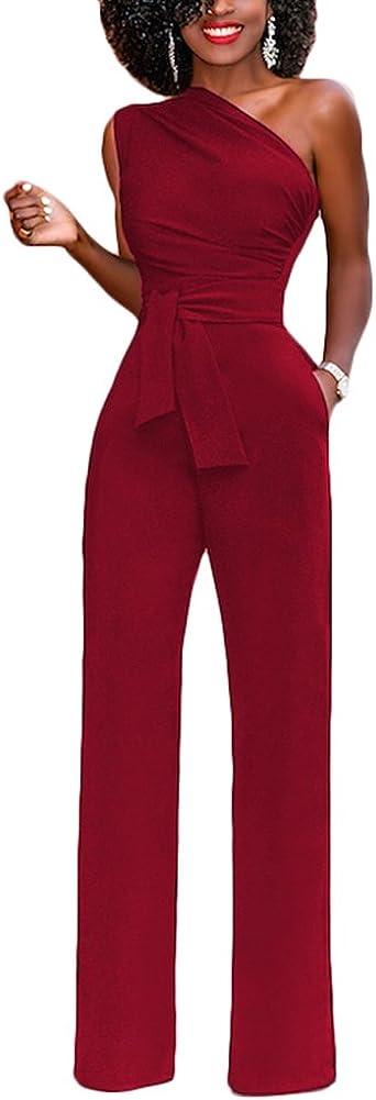 Lover-Beauty Mujer Mono Elegante Cortos Verano Un Hombro Casual Pantalones Ropa Vestir Cintura Alta Vendaje Ajustado Sexy Trajes Asimétrico Piernas Anchas