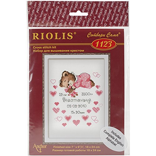 Girls Birth Announcement Counted Cross Stitch Kit-7.125x9.5 14 Count
