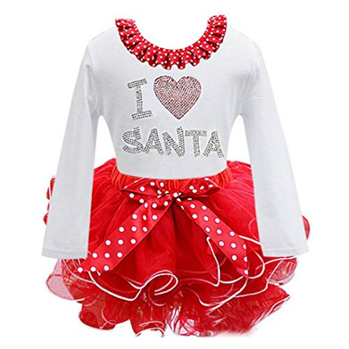 (kaifongfu Dress, Baby Girl Kids Bowknot Long Sleeve Christmas Day Dress (White, 130♣♣Size:7T))