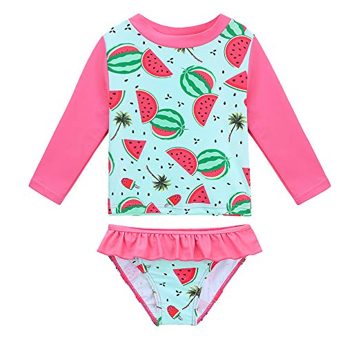 HUANQIUE Baby/Toddler Girls Swimsuit Rashguard Set Flower Tankini Watermelon 6-12 Months