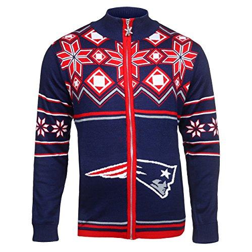 New England Patriots Split Logo Ugly Sweater Jacket Large