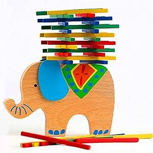 Agooding Holzblöcke Spielzeug Schwebebalken Stacking Spiele, Elefant
