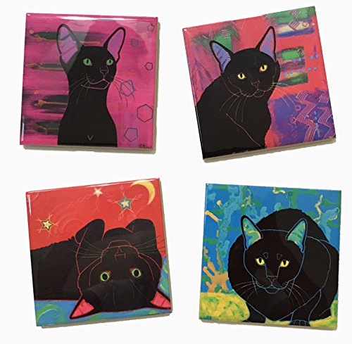 Black Cat Art Tile Coaster Set, Animal Lover Collectible Gift by Angela Bond