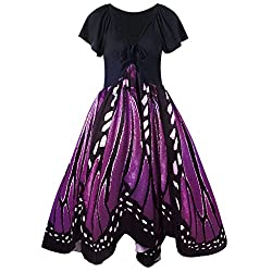 Feitong Women Ball Gown Mid Calf Dresses Casual Lace Up O Neck Butterflies Print Short Sleeve Swing Dress??�purple Xx Large