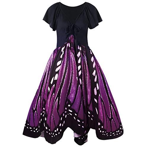 Dresser Butterflies Scarf (QueenBBWomen's Vintage Butterfly Print Short Sleeves Lace Up A-Line Dress High Waist Irregular Swing Dress Purple)