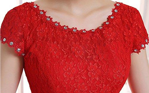 Hochzeitskleid Lange Spitzen Ausschnitt Runde Damen Abendkleider Rot Kurzarm Uqw61fZ