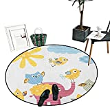 Nursery Dining Room Home Bedroom Carpet Floor Mat Happy Animals Colorful Design Sun Clouds Cute Elephant Birds and Owls Circle Rugs for Living Room (43