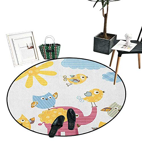 "Nursery Dining Room Home Bedroom Carpet Floor Mat Happy Animals Colorful Design Sun Clouds Cute Elephant Birds and Owls Circle Rugs for Living Room (43"" Diameter) Marigold Pink Baby Blue"