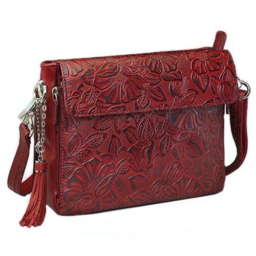 Gun Toten Mamas Tooled Cowhide Handbag, Black Cherry, One Size
