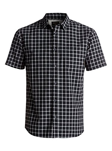 quiksilver-mens-check-short-sleeve-button-down-shirt-black-everyday-large