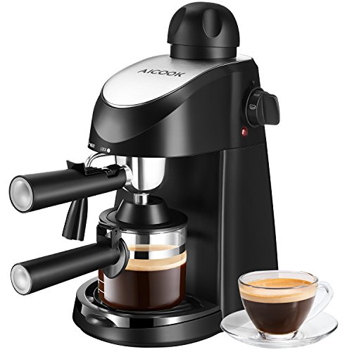 Espresso Machine, Aicook 3.5Bar Espresso Coffee Maker, Espresso and Cappuccino Machine with Milk Frother, Espresso Maker with Steamer, Black (Best Coffee Maker And Espresso Machine Combo)