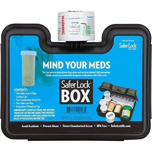 SaferLock Medication and Prescription Pill Lock Storage Box with Combination Lock, Black by SaferLock