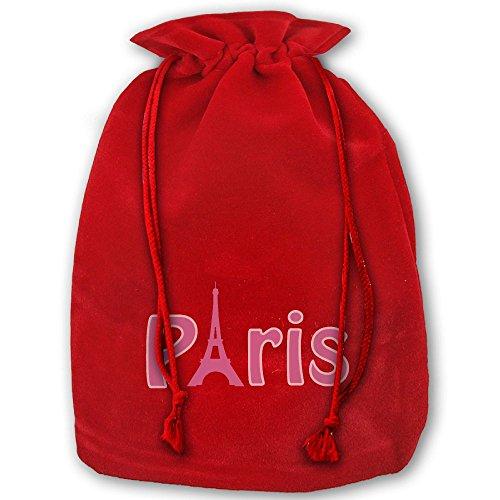 Pink Paris Eiffel Tower Red Christmas Drawstring Bags / Santa's Trouser Bag/ Christmas Gift