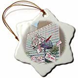orn_160352_1 Rick London - Londons Times Cartoons - News Politics - City Of Detroit Mailbox - LTCartoons - A Rick London Brand - Ornaments - 3 inch Snowflake Porcelain Ornament