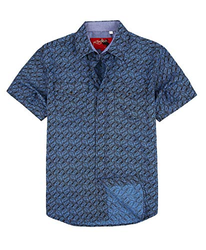 Rodeo Clothing Mens Casual Button Down Shirts Regular Fit Printed Western Shirt Blue116 XXL